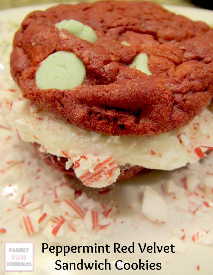 Peppermint Red Velvet Sandwich Cookies - Family Fun Journal