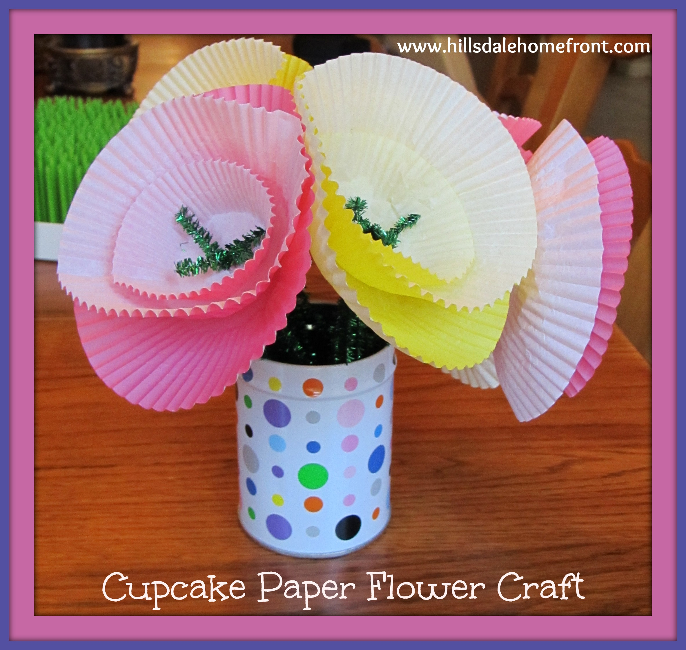 Cupcake Paper Flower Craft For Kids