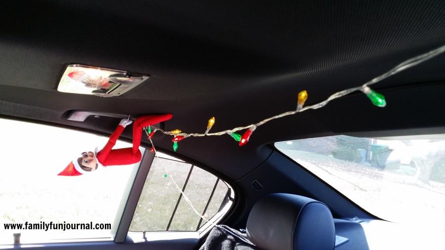 christmas elf on shelf in car