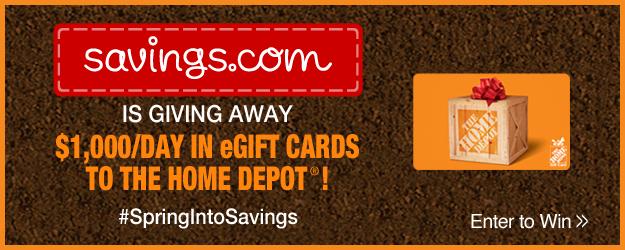 savings.com home depot giveaway