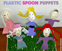 plastic spoon puppets