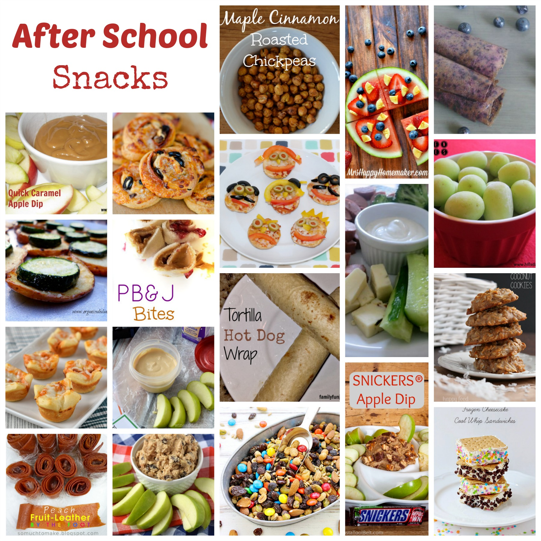 Fun ideas for after school snacks.