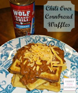 chili over cornbread waffles