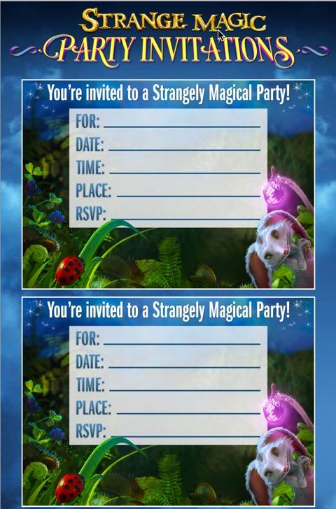 stragne magic party invites