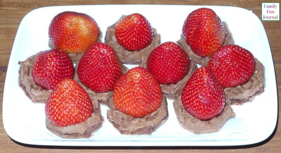 chocolate eggo waffles strawberries
