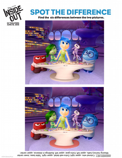 inside out activity sheets spot the difference