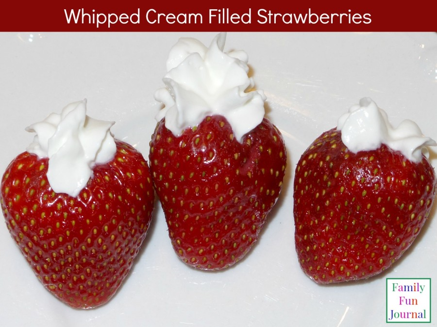 whipped cream filled strawberries