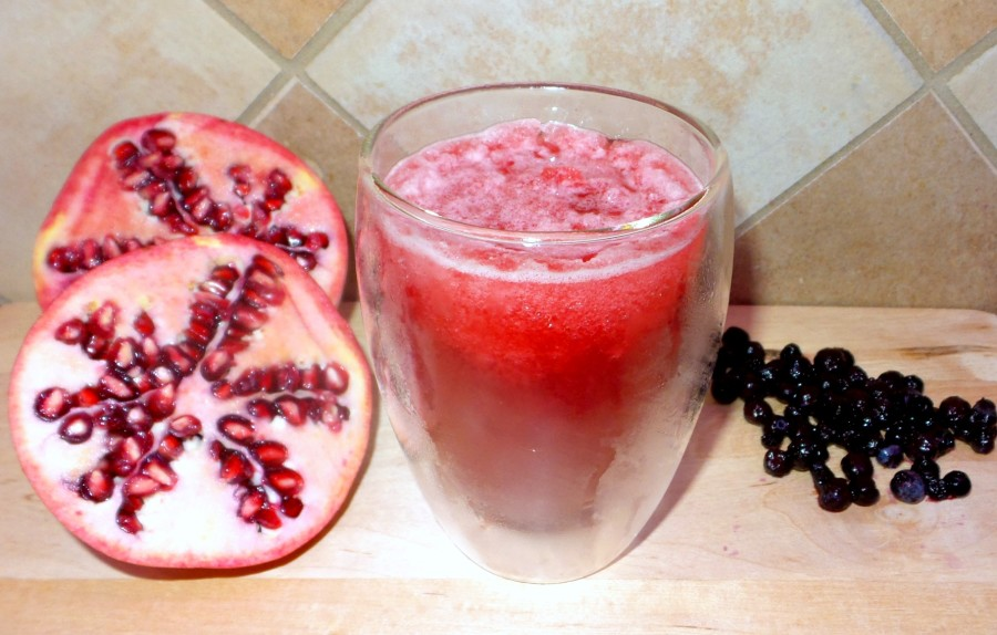 delicious pomegranate blueberry slushie