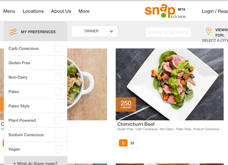 Snap Kitchen Menu