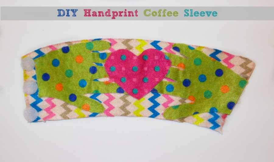 diy handprint coffee sleeve