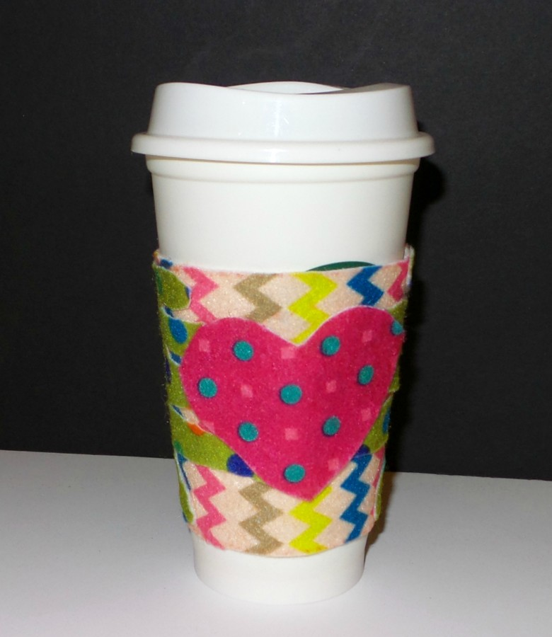 diy handprint coffee sleeve gift