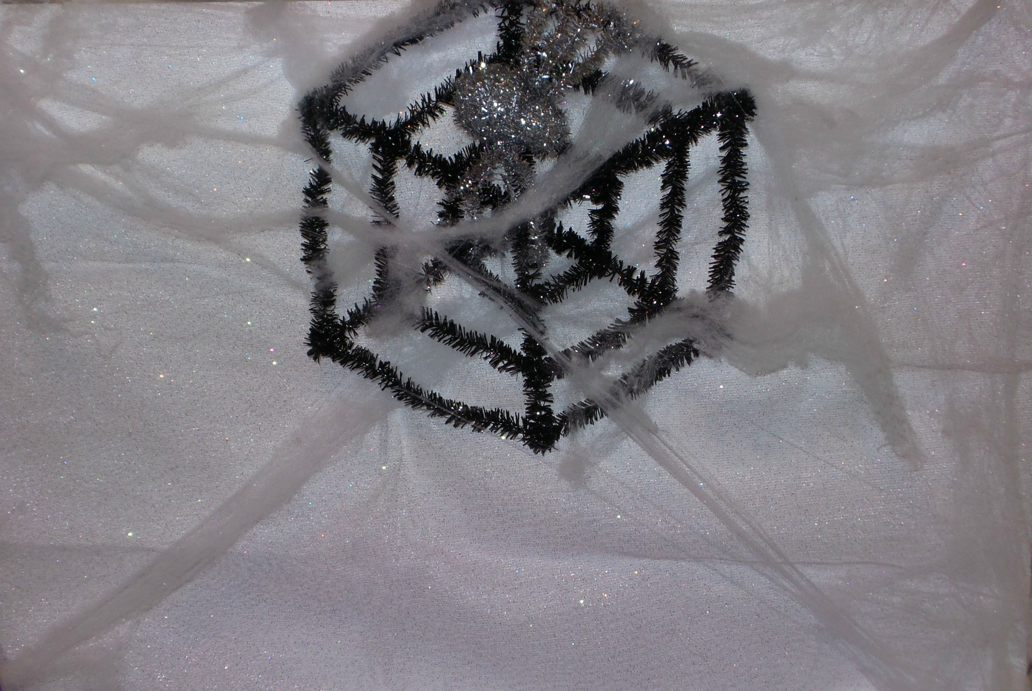 sparkly spider web poster board