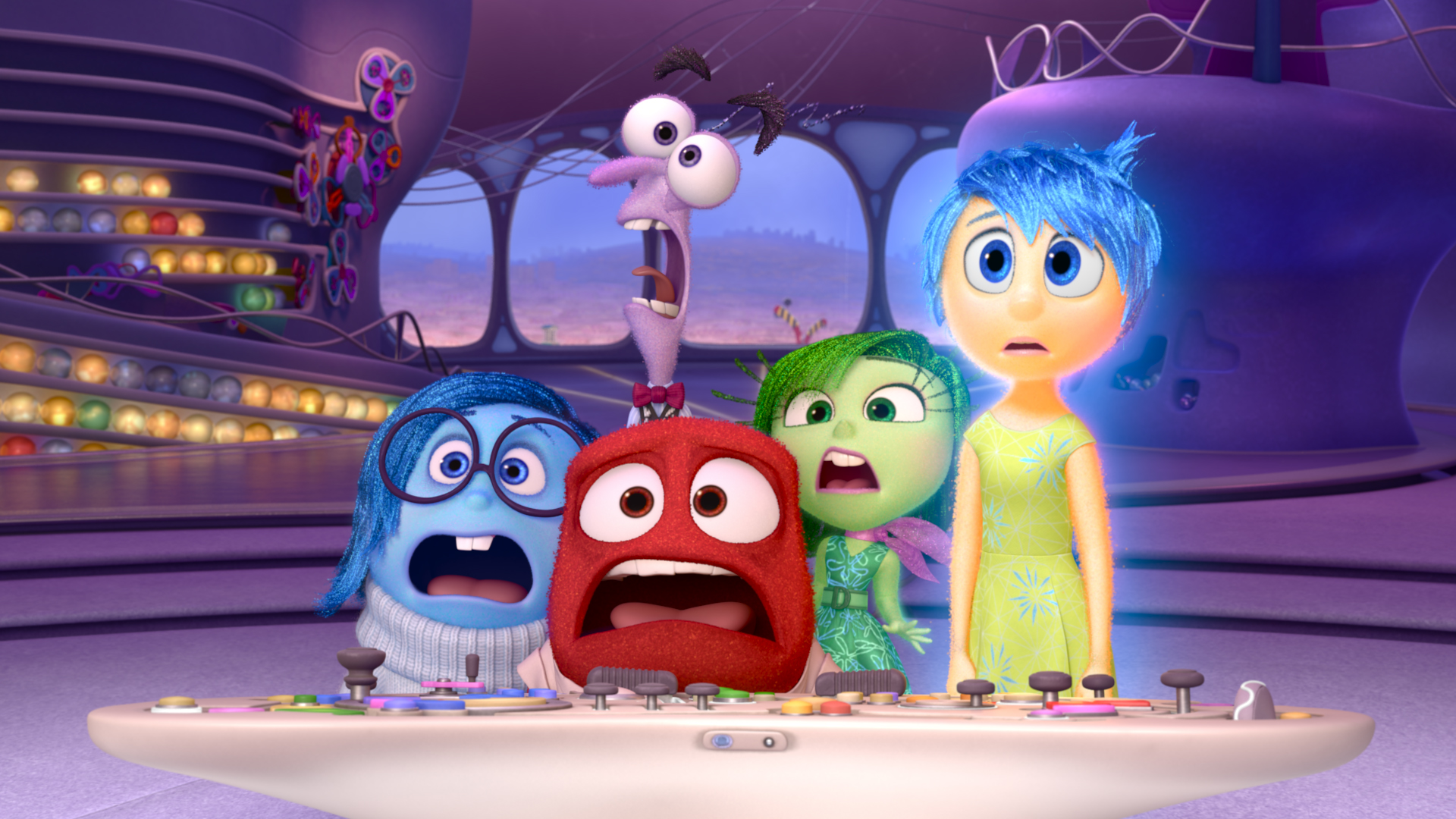 Pictured (L-R): Sadness, Fear, Anger, Disgust, Joy. 2015 Disney Pixar. All Rights Reserved.