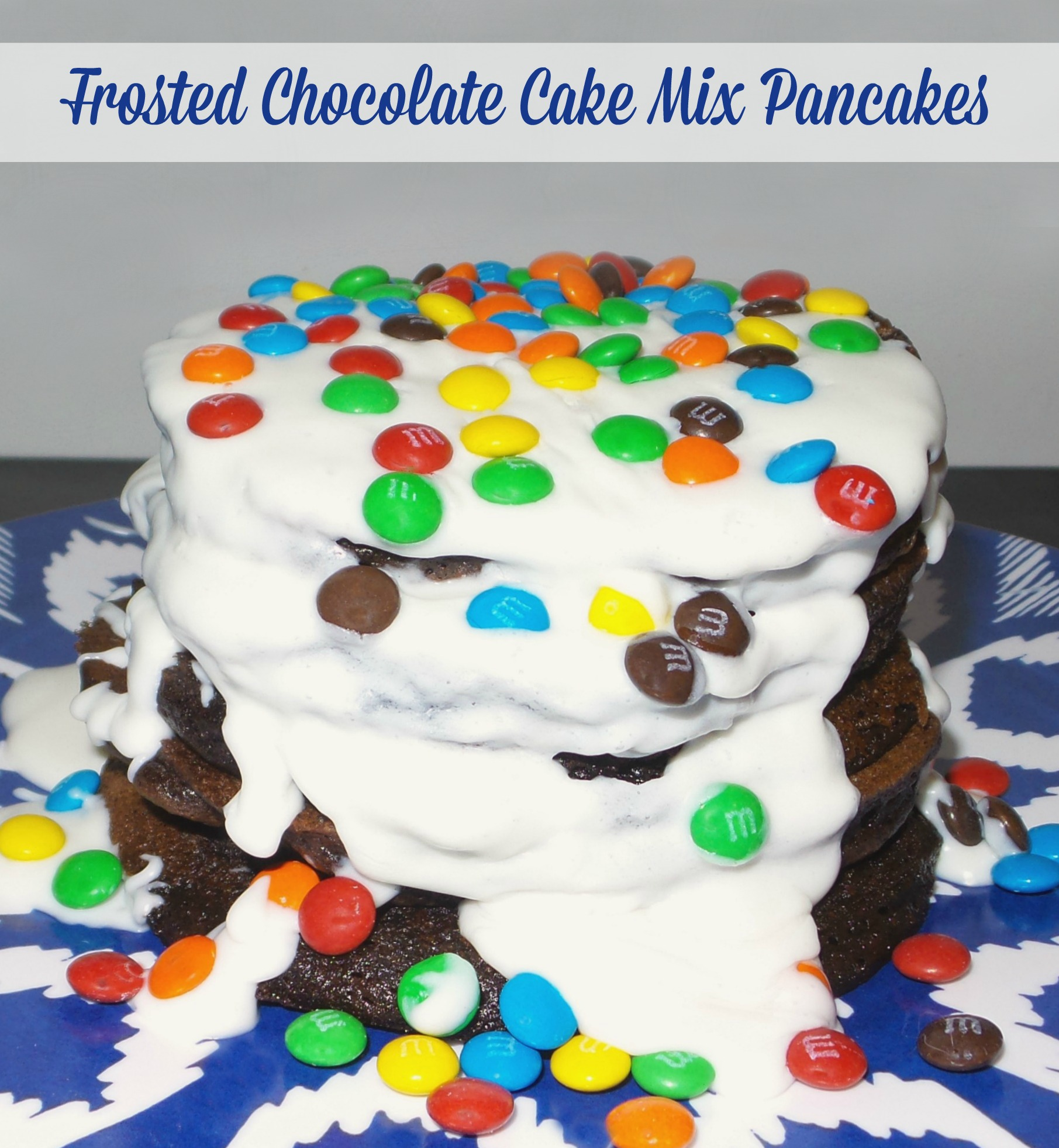 chocolate cake mix pancakes with frosting pinnable