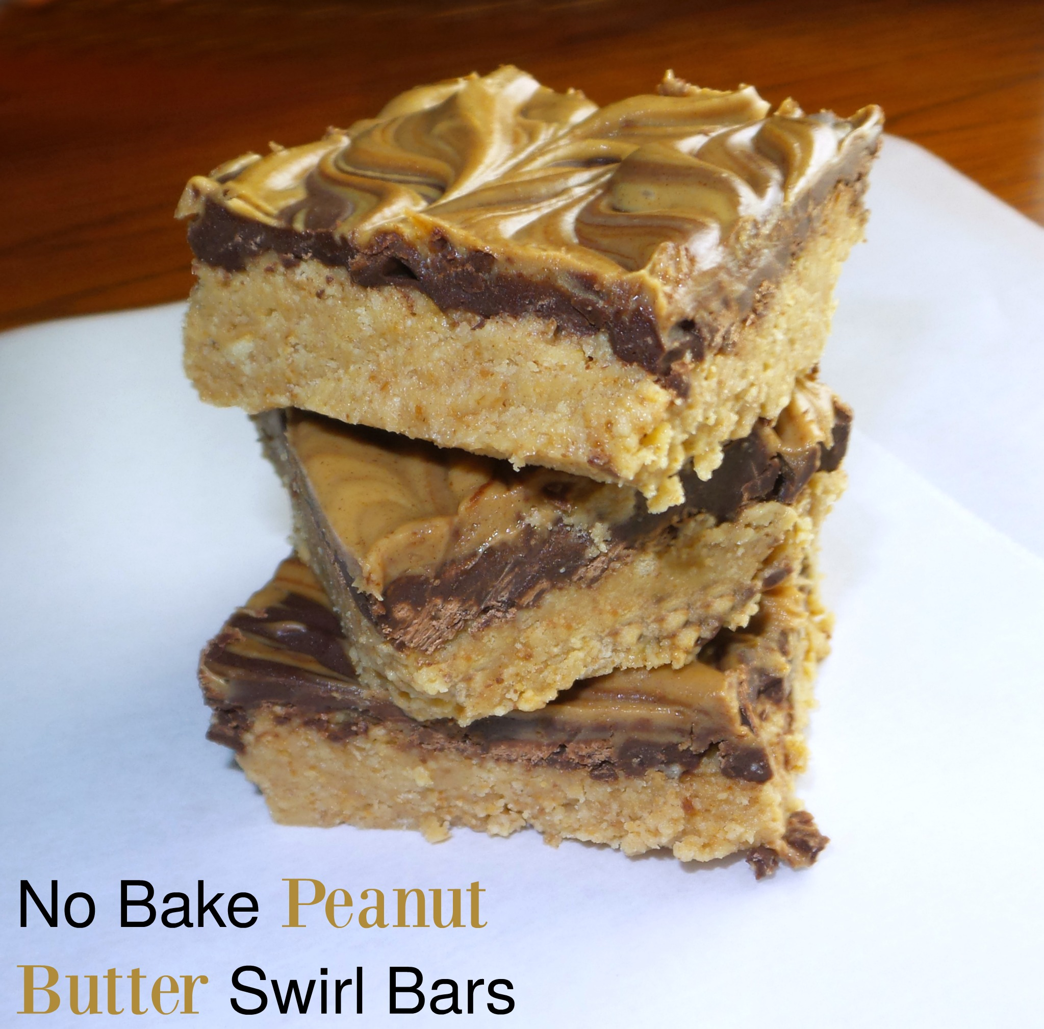 Delicious no bake peanut butter swirl bars!