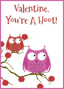 Owl Valentine's Day Card Printable For Kids