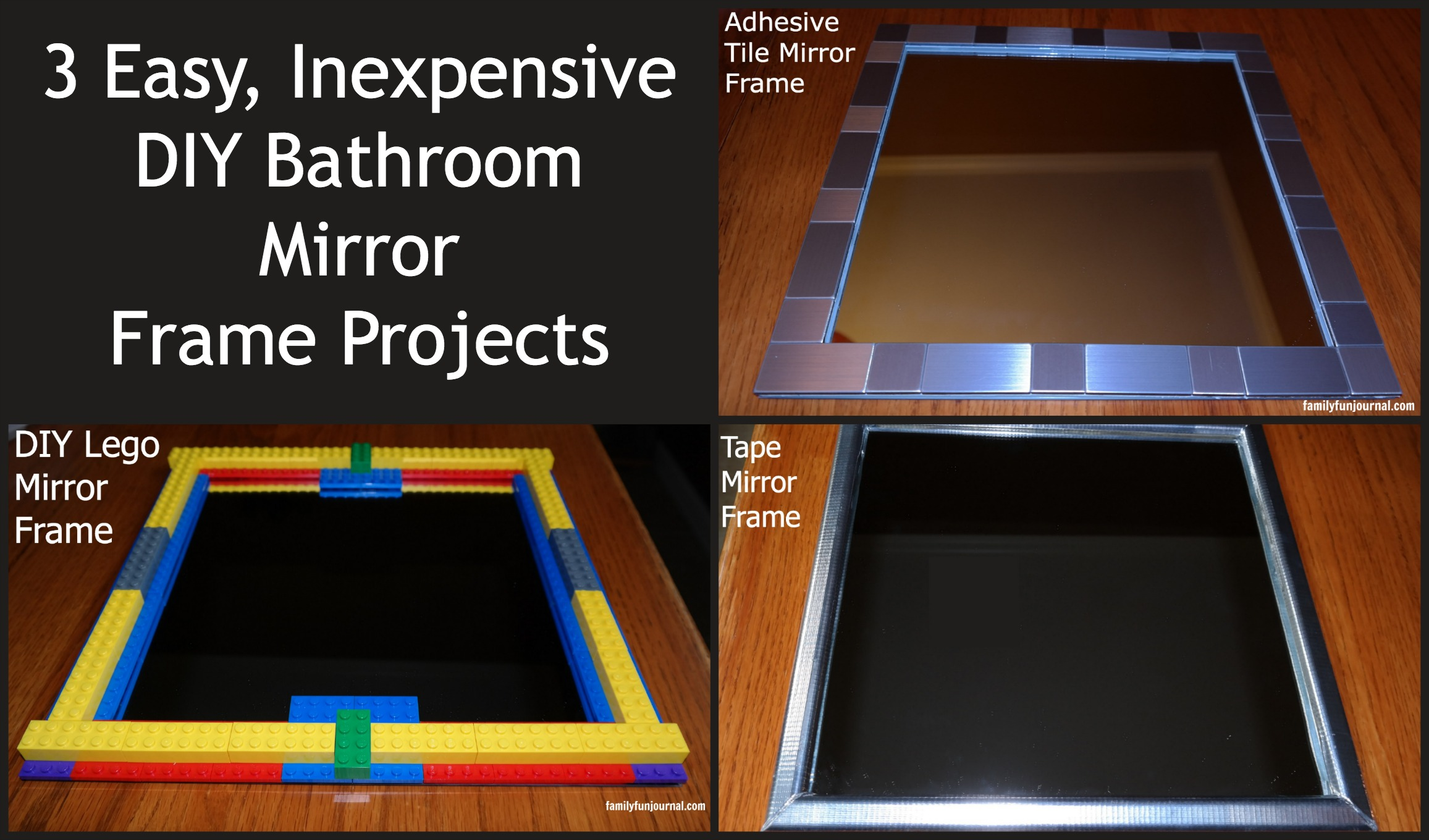 Three DIY Bathroom Mirror Frames - Family Fun Journal