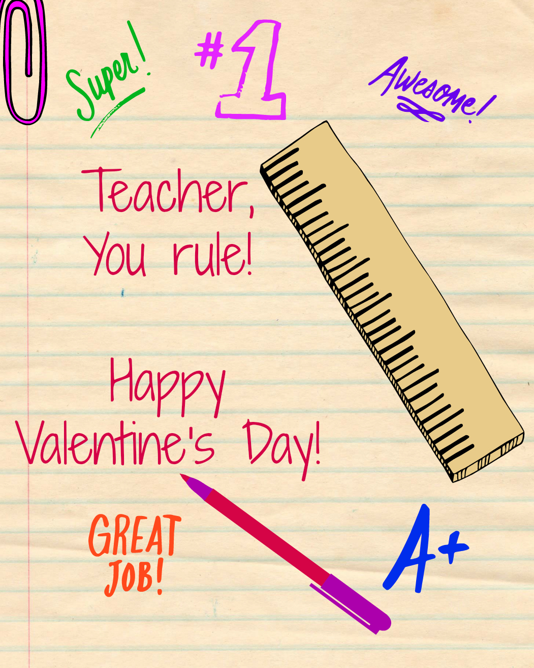 photograph relating to Printable Valentine Cards for Teachers identified as Trainer Valentines Working day Card - Household Enjoyable Magazine